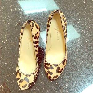 Ivanka Trump calfskin leopard print pumps